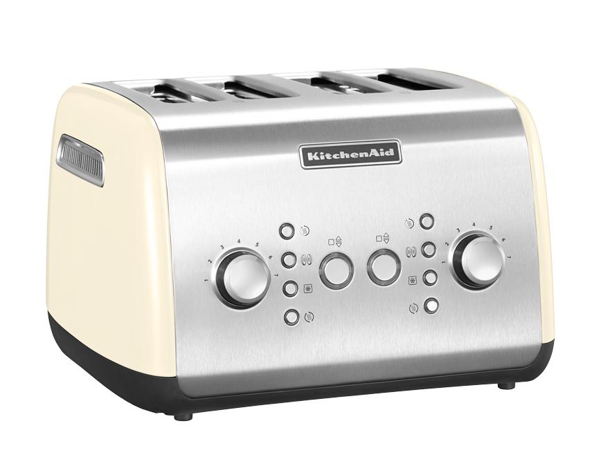 Тостер на 4 хлебца, кремовый, 5KMT421, KitchenAidТостеры<br>&#13;<br>Тип: на 4 хлебца;&#13;<br>Материал корпуса: сталь;&#13;<br>Хромированная ручка регулирования температуры;&#13;<br>Широкие отверстия для тостов;&#13;<br>Самоцентрирующиеся решетки&#13;<br>Шкала с 7 степенями поджаривания;&#13;<br>Кнопка &amp;laquo;Приготовление&amp;raquo;/&amp;laquo;Отмена&amp;raquo;: позволяет опустить/поднять тосты вручную;&#13;<br>Функция для приготовления булочек и бейглов: поджаривает изнутри, подогревает снаружи;&#13;<br>Функция размораживания;&#13;<br>Режим подогрева в течение 3 мин.&#13;<br><br>