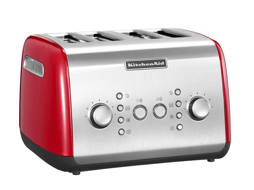Тостер на 4 хлебца, красный, 5KMT421, KitchenAidТостеры<br>&#13;<br>Тип: на 4 хлебца;&#13;<br>Материал корпуса: сталь;&#13;<br>Хромированная ручка регулирования температуры;&#13;<br>Широкие отверстия для тостов;&#13;<br>Самоцентрирующиеся решетки&#13;<br>Шкала с 7 степенями поджаривания;&#13;<br>Кнопка &amp;laquo;Приготовление&amp;raquo;/&amp;laquo;Отмена&amp;raquo;: позволяет опустить/поднять тосты вручную;&#13;<br>Функция для приготовления булочек и бейглов: поджаривает изнутри, подогревает снаружи;&#13;<br>Функция размораживания;&#13;<br>Режим подогрева в течение 3 мин.&#13;<br><br>
