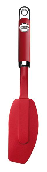 Лопатка гибкая силиконовая, красная, KS032ER, KitchenaidКухонные инструменты<br>Каждая хозяйка знает, сколько теста остается на стенках миски при перекладывании теста в форму для запекания. С помощью гибкой силиконовой лопатки KitchenAid вы сможете собрать все тесто до последней капли. Лопатка KitchenAid изготовлена из жароустойчивого силикона, выдерживает температуру до 260°С. Лопатка подходит для использования на любых поверхностях, включая антипригарные. Допускается мытье в посудомоечной машине.&#13;<br>Функциональныеи прочные, кухонные аксессуары от KitchenAid станут для вас верными помощниками. Торговая марка KitchenAid предлагает вам большой выбор кухонных аксессуаров, в числе которых - разнообразные лопатки, овощечистки, венчики, консервные ножи и т.п. Великолепный комплект, состоящий из ультрасовременных профессиональных гаджетов, будет прекрасным дополнительным аккордом для планетарного миксера Китченэйд.&#13;<br>Каждый стальной/силиконовый аксессуар разработан для неутомимых энтузиастов кулинарии и творчества, стремящихся достичь в своем деле идеального результата. Оригинальный дизайн утвари и приспособлений полностью отвечает стилистике всей линейки бытовой техники от KitchenAid. Практичные аксессуары изготавливают из нержавеющей стали и покрывают их жаростойким силиконом, выдерживающим температуру до +260° С. Аксессуары из силикона – наилучшее решение для кухни, ведь они подходят для посуды любого вида, в том числе – для антипригарной.&#13;<br>Лопатка силиконовая гибкая предназначена для равномерного помешивания горячих и холодных продуктов&#13;<br>&#13;<br>Гарантия - 12 месяцев&#13;<br>Из силикона и стали нержавеющей (сплав 18/8)&#13;<br>Выдерживает высокие температуры - до +260° С&#13;<br>Цельная и очень прочная рукоятка&#13;<br>Пригодна для использования с любыми видами покрытий, в том числе - антипригарным&#13;<br>Длина - 36 см.&#13;<br>&#13;<br><br>
