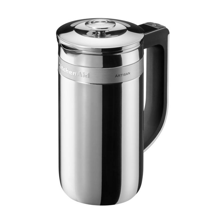 Френч-пресс Artisan, 740 мл, 5KCM0512ESS, нержавеющая сталь, KitchenAidПерсональные кофеварки<br>«Умный» беспроводной френч-пресс KitchenAid приготовит кофе именно так, как вы любите! Френч-пресс оснащён встроенными весами и таймером, которые позволят вам отмерить точное количество молотого кофе, горячей воды и времени, по истечении которого вы получите свой идеальный напиток!&#13;<br>Кроме того, френч-пресс KitchenAid не только умный, но и красивый. Надёжный и прочный, он изготовлен из нержавеющей стали. Элегантный силуэт универсален и будет одинаково хорошо смотреться дома, так и на офисном столе.&#13;<br>Особенности:&#13;<br>&#13;<br>Объём колбы – 740 мл (до 4-х чашек кофе)&#13;<br>Двойные стенки из нержавеющей стали надолго сохранят ваш напиток горячим&#13;<br>Стальной поршень с фильтром - обеспечивает легкое, мягкое нажатие для наилучшей экстракции.&#13;<br>Эффектный, современный дизайн&#13;<br>Беспроводная модель&#13;<br>Встроенные весы и таймер, которые работают от 2 батареек ААА (входят в комплект)&#13;<br>Мягкая нескользящая ручка&#13;<br>Встроенная панель управления и жидкокристаллический дисплей&#13;<br>Долговечный фильтр из нержавеющей стали с силиконовой прокладкой&#13;<br>&#13;<br>Довольно отмерять кофе «на глазок», доверьтесь профессиональной точности френч-пресса KitchenAid и изо дня в день наслаждайтесь идеально приготовленным напитком с насыщенным вкусом!<br>