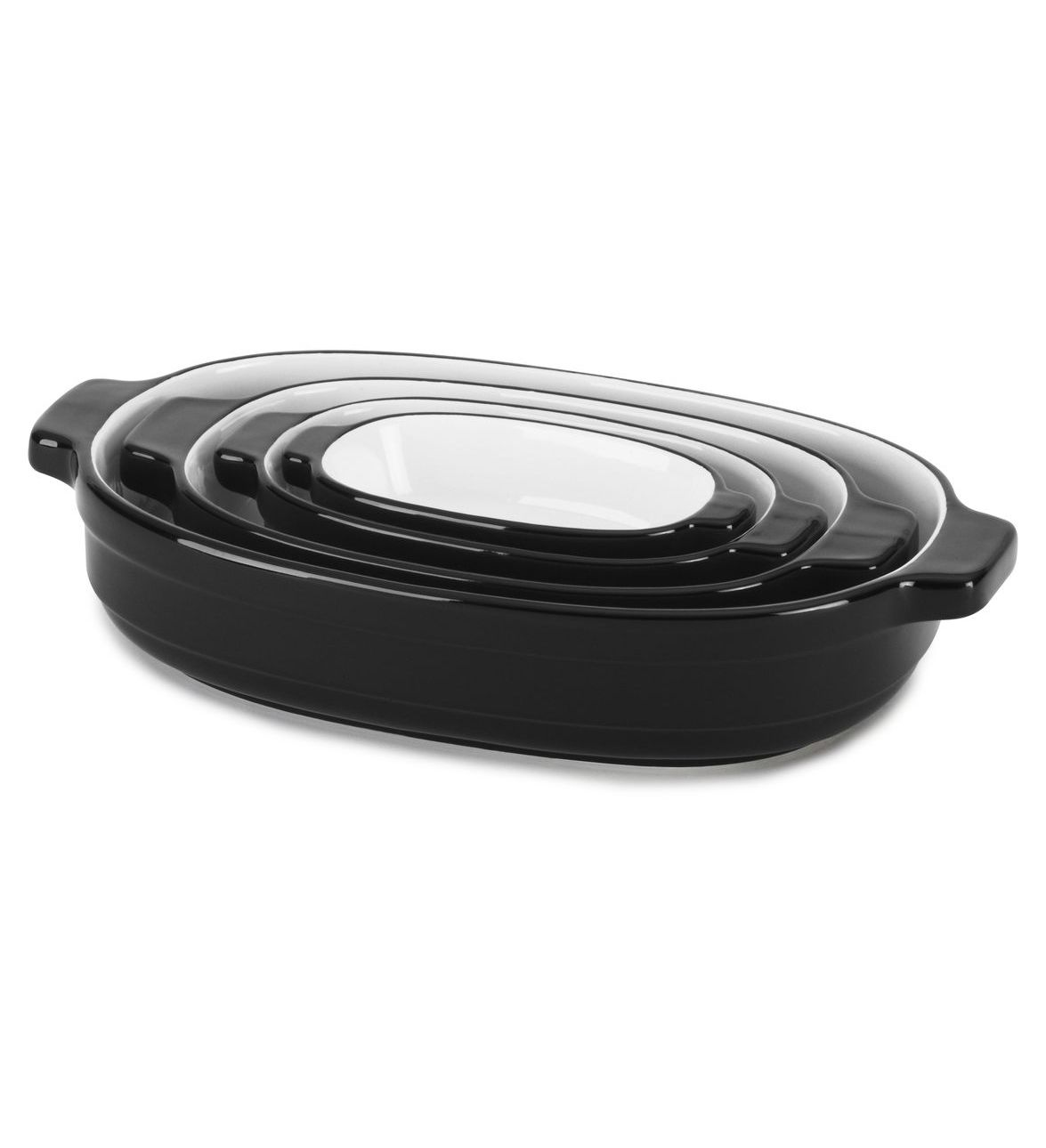 Набор керамических кастрюль (4 шт.), 0,5/0,9/1,8/3,3 л., черный, KBLR04NSOB, KitchenAidКерамическая посуда<br>УЖЕ В ПРОДАЖЕ!&#13;<br>Удобные и современные, керамические кастрюли KitchenAid требуют минимум места для хранения и идеально подходят как для запекания, так и для хранения, заморозки и разогревания блюд.Набор из 4-х кастрюль KitchenAid – это вещь, которую необходимо иметь на кухне каждому поклоннику домашней кулинарии.&#13;<br>&#13;<br>Керамические кастрюли изготавливаются из высококачественной глины, которая запекается при температуре свыше 1300оС. Такая посуда имеет плотную непористую структуру, не впитывает запахи, вкусы, жиры и легко моется.&#13;<br>Гладкая глазированная поверхность обладает естественными антипригарными свойствами, не подвержена трещинам и царапинам, не окрашивается.&#13;<br>Керамическая посуда удерживает тепло в несколько раз дольше, чем металлическая и идеально подходит для приготовления таких блюд как лазанья, коблер, различных запеканок и пирогов.&#13;<br>Эргономичные ручки удобны при перемещении посуды.&#13;<br>Современный дизайн кастрюль позволяет подавать ваши любимые блюда из духовки прямо на стол.&#13;<br>Керамические кастрюли можно мыть в посудомоечной машине, использовать в микроволновой печи и помещать в морозильную камеру.&#13;<br>Предлагаемые расцветки гармонируют с цветами кухонной техники KitchenAid&#13;<br><br>