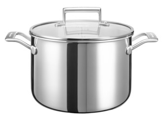 Кастрюля с крышкой, 7.57 л, 5 слоев, нержавеющая сталь, KC2T80SCST, KitchenAid5-х слойная посуда из нержавеющей стали<br>Кастрюля KitchenAid из нержавеющей стали объёмом 7,57 станет вашей незаменимой помощницей. Её объёма достаточно для варки или запекания целой курицы, початков кукурузы, цельной свёклы или моркови.&#13;<br>Современная технология 3-Ply, с помощью которой изготовлена кастрюля, обеспечивает высокую равномерный нагрев посуды. Состоит из пяти слоёв металла: нержавеющая сталь-алюминий-медь-алюминий-нержавеющая сталь.&#13;<br>&#13;<br>Для всех видов плит&#13;<br>Можно мыть в посудомоечной машине&#13;<br>Для использования в духовом шкафу&#13;<br>Сварные рукоятки из нержавеющей стали&#13;<br>&#13;<br>&amp;nbsp;<br>