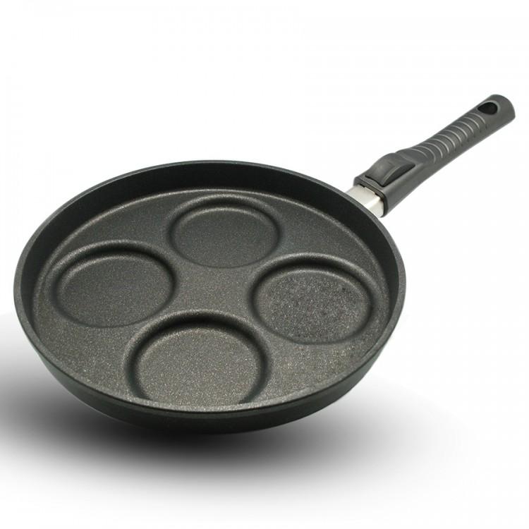 Сковорода для яиц со съёмной ручкой, 26 см, серия GIGANT Newline INDUCTION, BAFСерия GIGANT Newline INDUCTION<br>Характеристики:&#13;<br>&#13;<br>Толщина дна: 10 мм&#13;<br>Глубина: 2,5 см&#13;<br>Внутреннее покрытие: микрокерамическое покрытие микро-BAF ® 4-кратной защиты от износа&#13;<br>Подходит для всех типов плит, включая индукционные&#13;<br>Можно мыть в посудомоечной машине&#13;<br>Ручка: съемная.&#13;<br>&#13;<br>Преимущества:&#13;<br>&#13;<br>Высокая износостойкость&#13;<br>Превосходная теплопроводность и теплоемкость&#13;<br>BAF-microCERAMIC ®: единственное в своем роде объединение высококачественных сверхпрочных керамических материалов - таких же прочных как алмаз - с особой антипригарной системой компонентов&#13;<br>Великолепные антипригарные свойства&#13;<br>Можно готовить практически без масла&#13;<br>Ручка выполнена из новой комбинации высококачественной стали и пластмассы - выдерживает температуру до 260 ° C.&#13;<br><br>