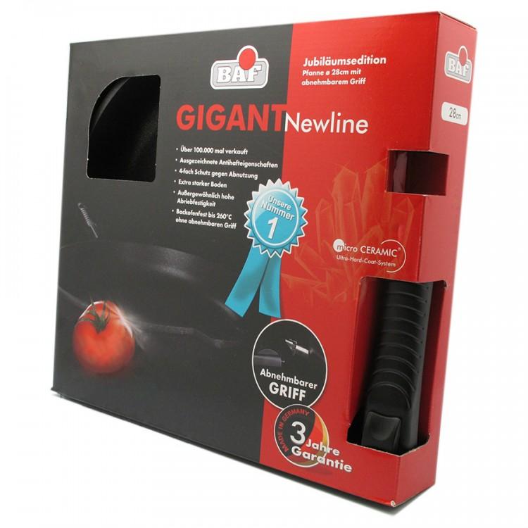 Сковорода средняя со съёмной ручкой в подарочной упаковке, 28 см, микрокерамическое покрытие, серия GIGANT Newline, BAFСерия GIGANT Newline<br>Характеристики:&#13;<br>&#13;<br>Толщина дна: 10 мм&#13;<br>Глубина: 4,5 см&#13;<br>Высота борта: 5,5 см&#13;<br>Внутреннее покрытие: микрокерамическое покрытие микро-BAF ® 4-кратной защиты от износа&#13;<br>Ручка: съемная&#13;<br>Подарочная упаковка.&#13;<br>&#13;<br>Преимущества:&#13;<br>&#13;<br>Высокая износостойкость&#13;<br>Превосходная теплопроводность и теплоемкость&#13;<br>BAF-microCERAMIC ®: единственное в своем роде объединение высококачественных сверхпрочных керамических материалов - таких же прочных как алмаз - с особой антипригарной системой компонентов&#13;<br>Великолепные антипригарные свойства&#13;<br>Можно готовить практически без масла&#13;<br>Ручка выполнена из новой комбинации высококачественной стали и пластмассы - выдерживает температуру до 260 ° C.&#13;<br><br>