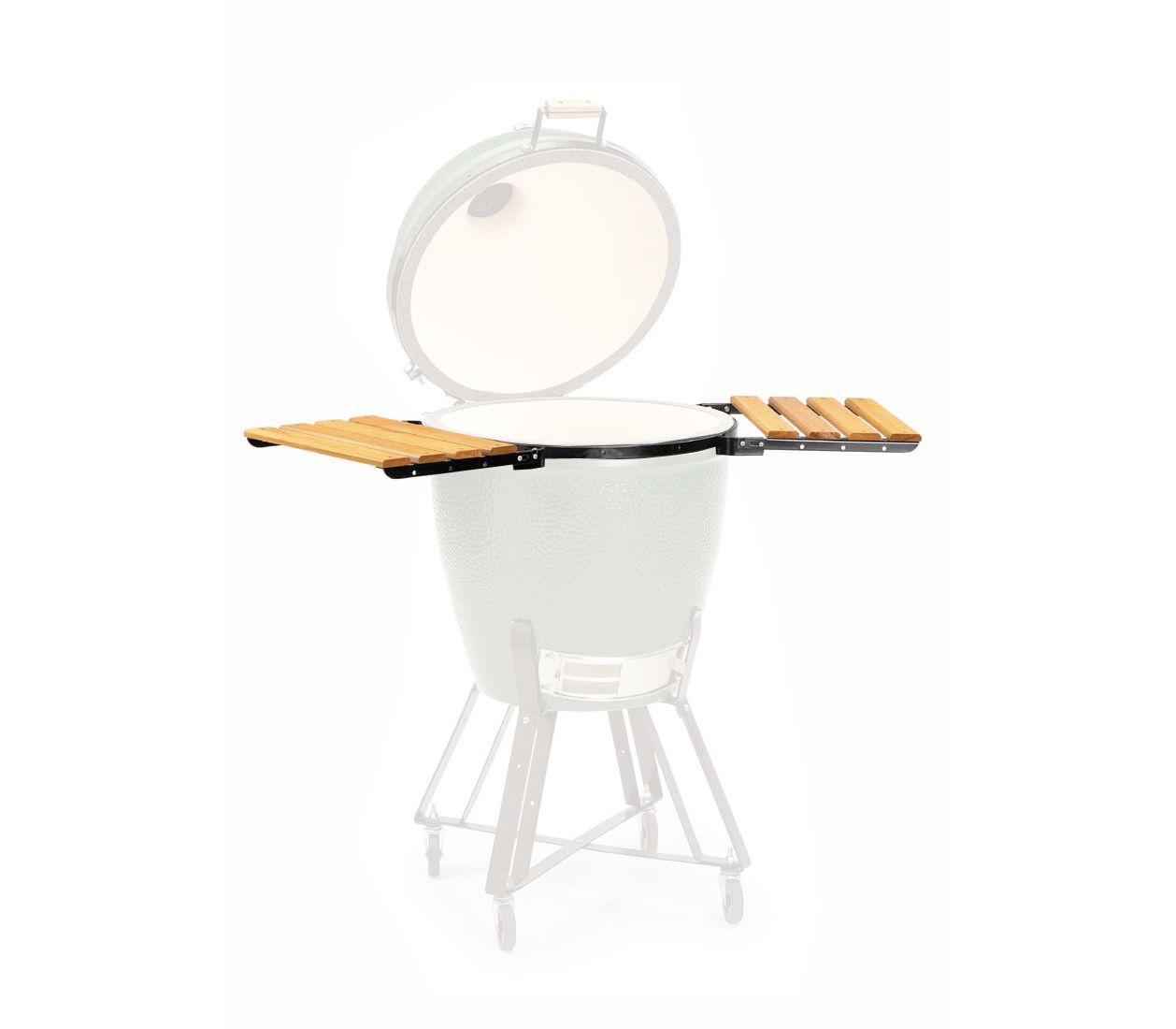 Столики для гриля LARGE EGG, Big Green EggАксессуары<br>Рабочие боковые столики&#13;<br>Готовить с комфортом – легко! Рабочие боковые столики позволят разместить на них инструменты, продукты, тарелки для готовящихся блюд. Термостойкое долговечное дерево не выгорает, не требует лакировки. После использования поверхность столиков достаточно протереть тканью. Столики изготовлены из прочного, качественного дерева и оснащены металлическими опорами. Между использованиями для удобства хранения столики можно опустить вниз.&#13;<br>Столики подходят для моделей Small, Medium, Large, XLarge.&#13;<br><br>