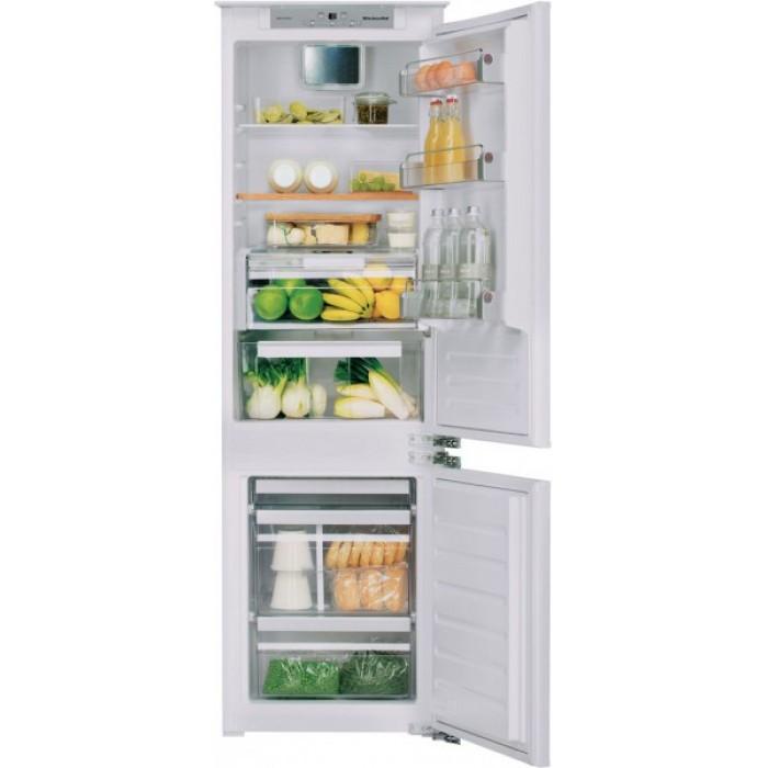 Холодильник KCBCR 18600, KitchenAidХолодильники<br>&#13;<br>Вид: холодильникс морозильником&#13;<br>Тип: встраиваемый&#13;<br>2-камерный&#13;<br>Класс энергоэффективности: А+&#13;<br>Уровень шума: 38&#13;<br>Производительность замораживания (кг/сутки): 9&#13;<br>Антибактериальный фильтр Hygiene&#13;<br>Дверной упор: справа&#13;<br>Хладагент: R600a&#13;<br>Система Total No-Frost&#13;<br>Тип подсветки: светодиоды&#13;<br>Тип дисплея:сенсорный&#13;<br>Индикация открытой двери&#13;<br>Система Pro Fresh&#13;<br>Количество температурных звезд в маркировке: 4&#13;<br>Суммарный общий объем, л: 282&#13;<br>Суммарный полезныйобъем, л: 258&#13;<br>Общий объем холодильного отделения, л:204&#13;<br>Общий объем морозильного отделения, л:78&#13;<br>Полезный объем холодильного отделения, л:195&#13;<br>Полезный объем морозильного отделения, л: 63&#13;<br>Система навешивания дверей: скользящая&#13;<br>Материал полок: стекло&#13;<br>Регулируемые полки на двери: 4&#13;<br>Регулируемые полки в холодильном отделении: 4&#13;<br>Полки в холодильном отделении: 5&#13;<br>Полка для бутылок&#13;<br>Полка Высокая кухня (дуб)&#13;<br>Разделитель бутылок&#13;<br>Лоток для яиц&#13;<br>Лоток для кубиков льда&#13;<br>Контроль уровня влажности&#13;<br>Выдвижные ящики для овощей: 1&#13;<br>Выдвижные ящики в морозильном отделении: 3&#13;<br>Короб для сыра&#13;<br><br>