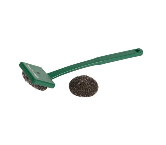 Щетка-спонж для чистки решётки, спонж нержавеющая сталь, зелёная ручка, Big Green EggАксессуары<br>Щётка-спонж из нержавеющей стали &#13;<br>Прочная и долговечная щётка для очистки решёток не оставляет после себя щетинок, быстро и легко очищает загрязненные поверхности. В комплект входит один металлический спонж для замены. Благодаря длинной рукоятки можно не дожидаться, пока решётки остынут.<br>
