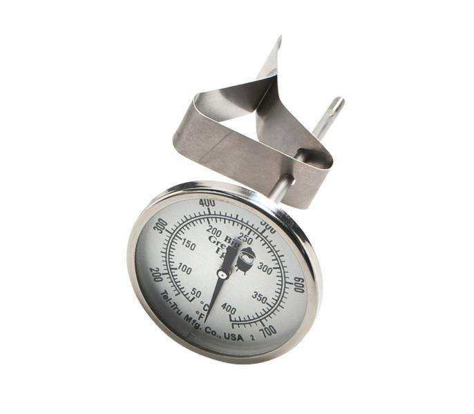 Термометр ШТАТНЫЙ, круглый, шкала +50/+400С, Big Green EggТермометры для грилей<br>Для замены стационарного термометра, установленного на куполе BGE с дымоходом, в случае необходимости. Шкала термометра от 50° до 427 °С. Изготовлен из высококачественной нержавеющей стали, с герметичными швами. Стандартный циферблат.&#13;<br>Подходит для моделей MiniMax, Small, Medium, Large, XLarge, XXLarge.<br>