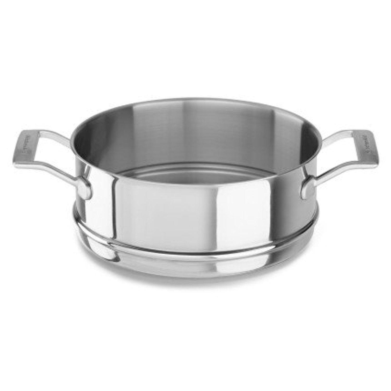 Кастрюля-пароварка, 24 см, нержавеющая сталь, KC2T80SIST, KitchenAid3-х слойная посуда из нержавеющей стали<br>Пароварка KitchenAid из нержавеющей сталиотлично подойдёт для приготовления диетических паровыхблюд: овощей, рыбы, котлет и тефтелей и т.д.&#13;<br>Изготовлена по технологии Tri-Ply и состоит из трёх слоёв металла. Внешний и внутренний – нержавеющая сталь, сердцевина – алюминий.&#13;<br>&#13;<br>Для кастрюль диаметром 24 см.&#13;<br>К пароварке подходит крышка из закалённого стекла, идущая в комплекте с кастрюлей.&#13;<br>Сварные рукоятки из нержавеющей стали&#13;<br>Разрешено мытьё в посудомоечной машине&#13;<br><br>