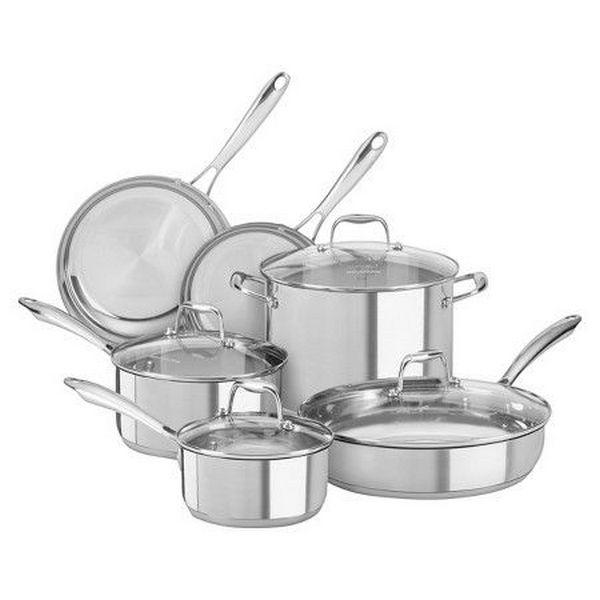 Набор посуды CHEF, 4 предмета, KitchenAid3-слойная посуда из нержавеющей стали<br>В наборе:&#13;<br>&#13;<br>Сковорода KitchenAid, D25.4 см (3 Ply SS), нерж.сталь (Артикул: KC2T10SKST)&#13;<br>Сковорода KitchenAid, D30.5 см (3 Ply SS), нерж.сталь (Артикул: KC2T12SKST)&#13;<br>Сотейник KitchenAid, 3.31 л с крышкой (3 Ply SS), нерж.сталь (Артикул:KC2T35EHST)&#13;<br>Кастрюля KitchenAid низкая, 5.68 л с крышкой (3 Ply SS), нерж.сталь (Артикул: KC2T60LCST)&#13;<br><br>
