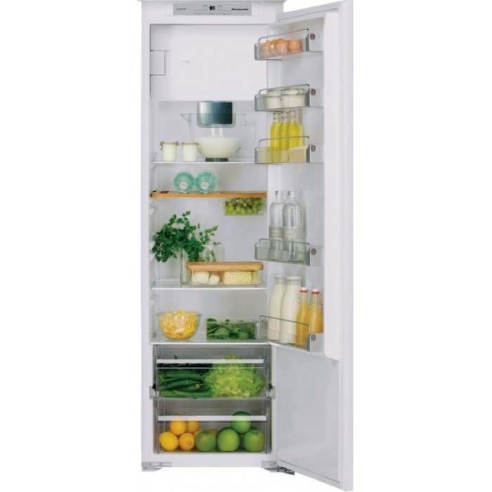 Холодильник KCBMS 18602, KitchenAidХолодильники<br>&#13;<br>Вид: холодильник сморозильником&#13;<br>Тип: встраиваемый&#13;<br>1-камерный&#13;<br>Класс энергоэффективности: А+++&#13;<br>Уровень шума: 35&#13;<br>Дверной упор: справа&#13;<br>Хладагент: R600a&#13;<br>СистемаTotal No-Frost&#13;<br>Тип подсветки: светодиоды&#13;<br>Тип дисплея:сенсорный&#13;<br>Индикация открытой двери&#13;<br>Система Pro Fresh&#13;<br>Общий объем морозильного отделения, л: 30&#13;<br>Общий объем холодильного отделения, л: 263&#13;<br>Полезный объем морозильного отделения, л: 30&#13;<br>Полезный объем холодильного отделения, л: 262&#13;<br>Система навешивания дверей: фиксированная&#13;<br>Материал полок: стекло&#13;<br>Регулируемые полки на двери: 5&#13;<br>Регулируемые полки в холодильном отделении: 4&#13;<br>Полки в холодильном отделении: 5&#13;<br>Полка для бутылок&#13;<br>Разделитель бутылок&#13;<br>Лоток для яиц&#13;<br>Лоток для кубиков льда&#13;<br>Контроль уровня влажности&#13;<br>Выдвижные ящики для овощей:0&#13;<br>Выдвижные ящики в морозильном отделении: 3&#13;<br>Короб для сыра&#13;<br><br>