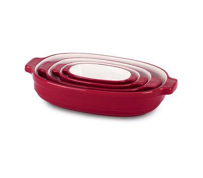 Набор керамических кастрюль красный KitchenAid
