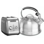 """Набор """"Завтрак"""" тостер 5KMT221E + чайник KTEN20SB 1,89 л., серебряный, KitchenAid, фото 1"""