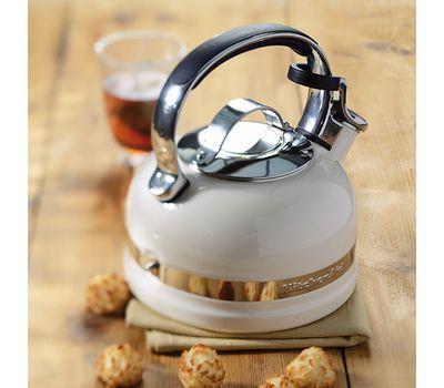 Чайник наплитный классический со свистком 1,89 л, кремовый, KTEN20SBAC, KitchenAid, фото 2