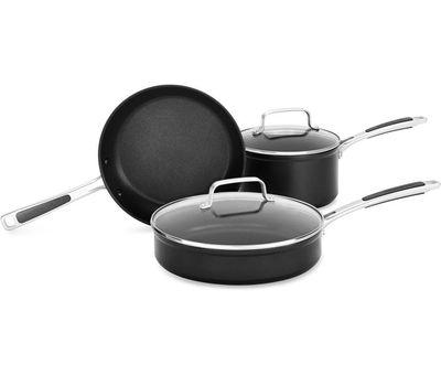 Набор из 3 предметов: Сковорода 24 см, Сотейник с крышкой 16 см , Сотейник с крышкой 24 см, анодированный алюминий, KC2H1S05BKD, KitchenAid, фото 1