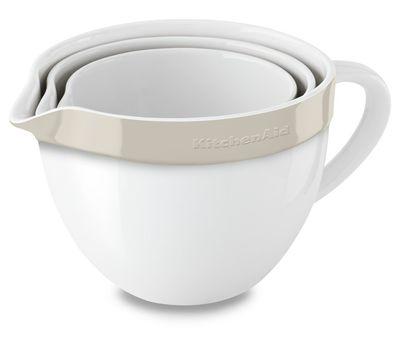 Набор круглых керамических чаш для смешивания (3 шт.), 1,4/1,9/2,8/ л, кремовый, KBLR03NBAC, KitchenAid, фото 1