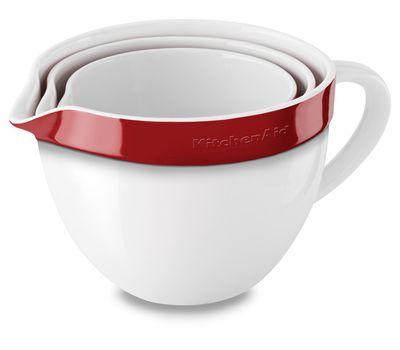 Набор круглых керамических чаш для смешивания (3 шт.), 1,4/1,9/2,8 л, красный, KBLR03NBER, KitchenAid, фото 1