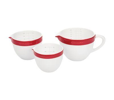 Набор круглых керамических чаш для смешивания (3 шт.), 1,4/1,9/2,8 л, красный, KBLR03NBER, KitchenAid, фото 4