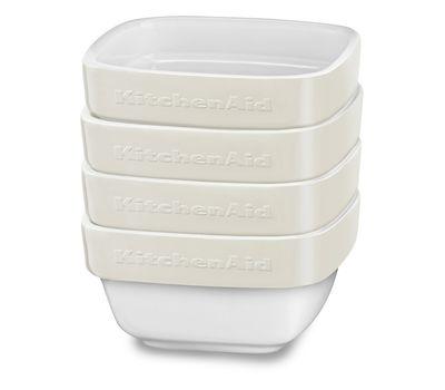 Набор керамических чаш для запекания (4 шт.), 0,22 л, кремовый, KBLR04RMAC, KitchenAid, фото 1