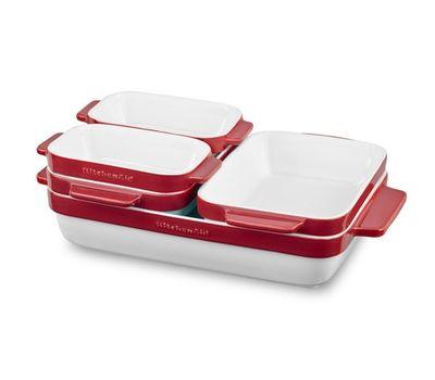 Набор керамических кастрюль (5 шт.), красный, KBLR05SBER, KitchenAid, фото 1