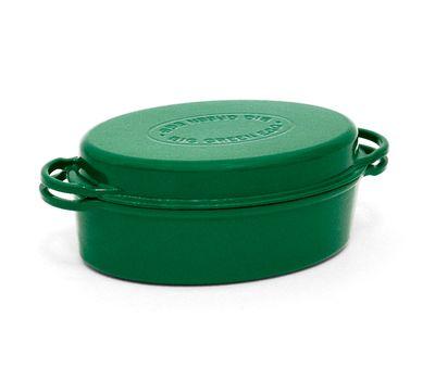 Жаровня овальная для гриля с крышкой, 5.2 л, зеленая, чугун, Big Green Egg, фото 1