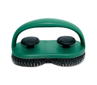 Щетка-спонж для чистки решётки двойная, спонж нержавеющая сталь, зелёная ручка, Big Green Egg, фото 1
