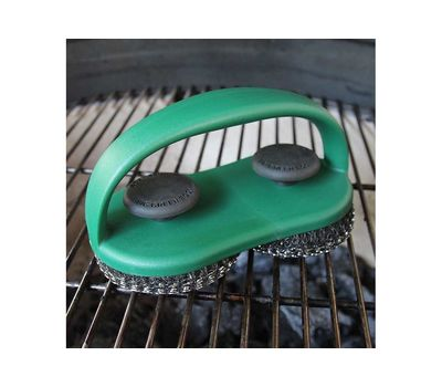 Щетка-спонж для чистки решётки двойная, спонж нержавеющая сталь, зелёная ручка, Big Green Egg, фото 2